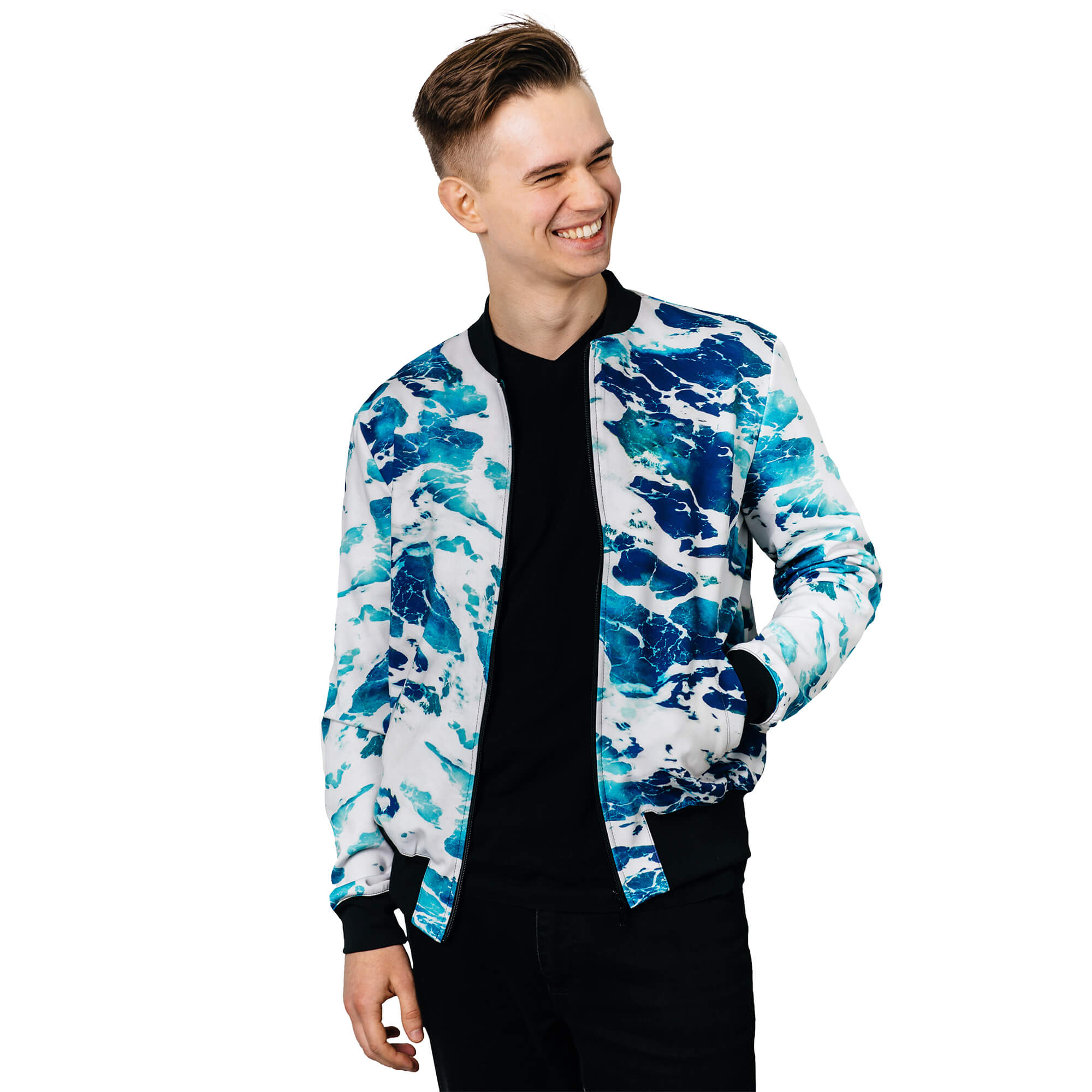 Overflow bomber jacket kurtka neibieska blue sea Full print art clothes Cacofonia Milano