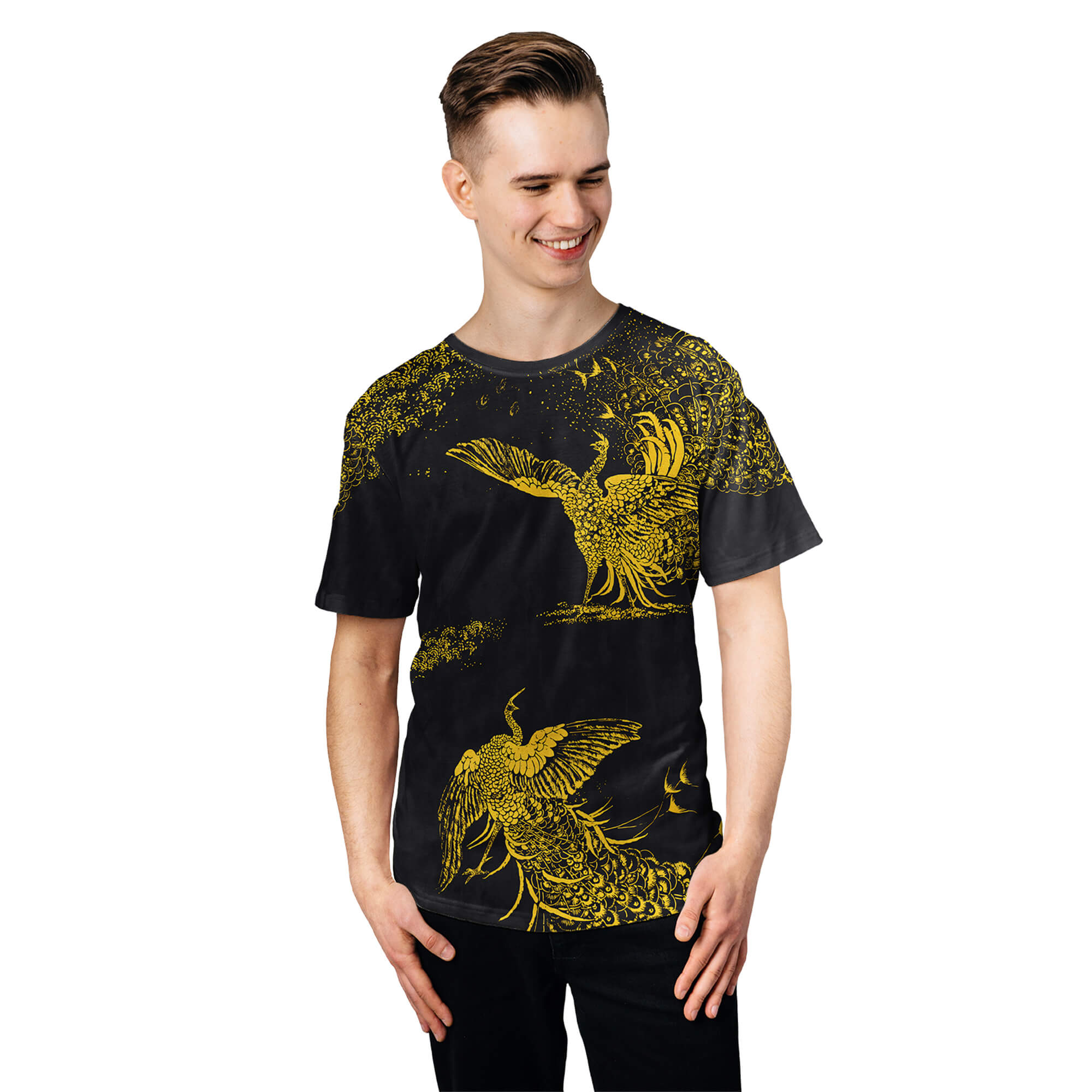 Black Peacocks Gold Birds tshirt Full print art clothes Cacofonia Milano-2