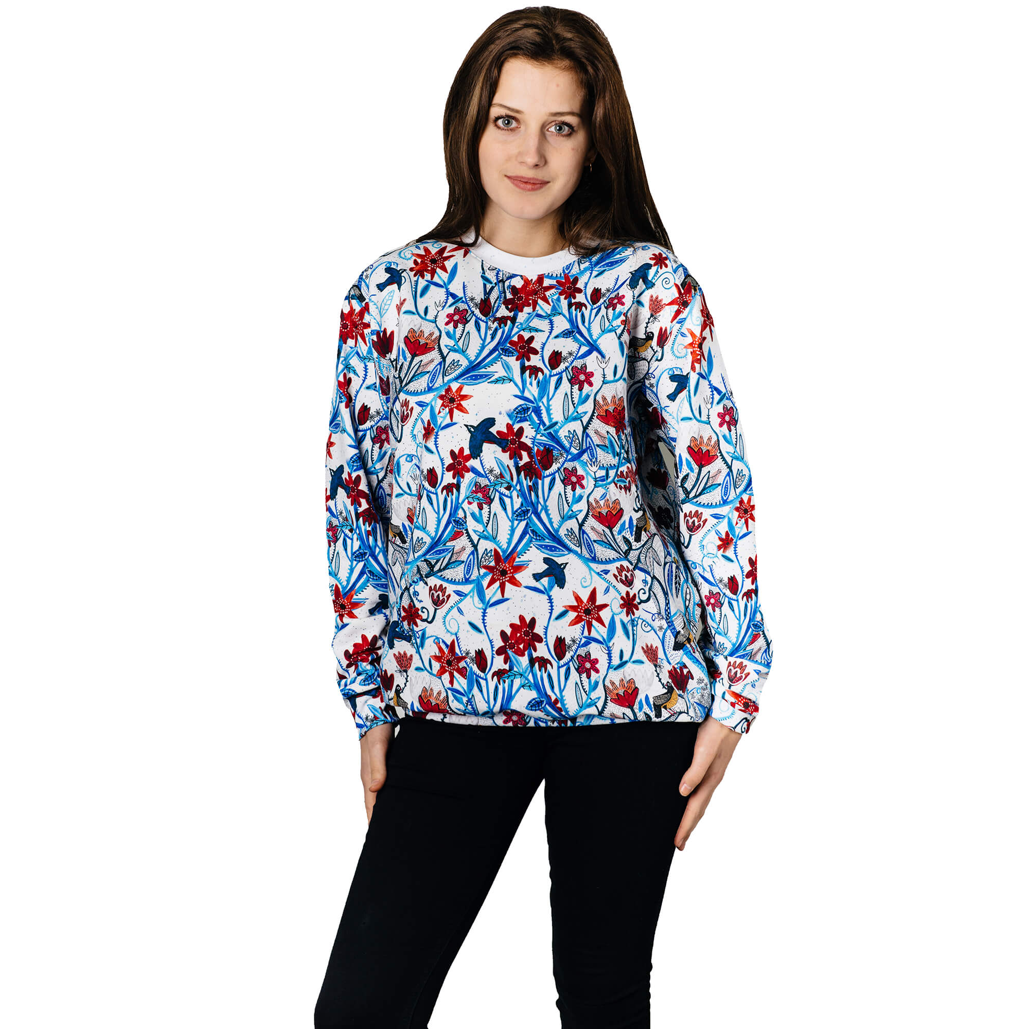 Winter Flowers bluza jumper handmade blue white red Full print art clothes Cacofonia Milano