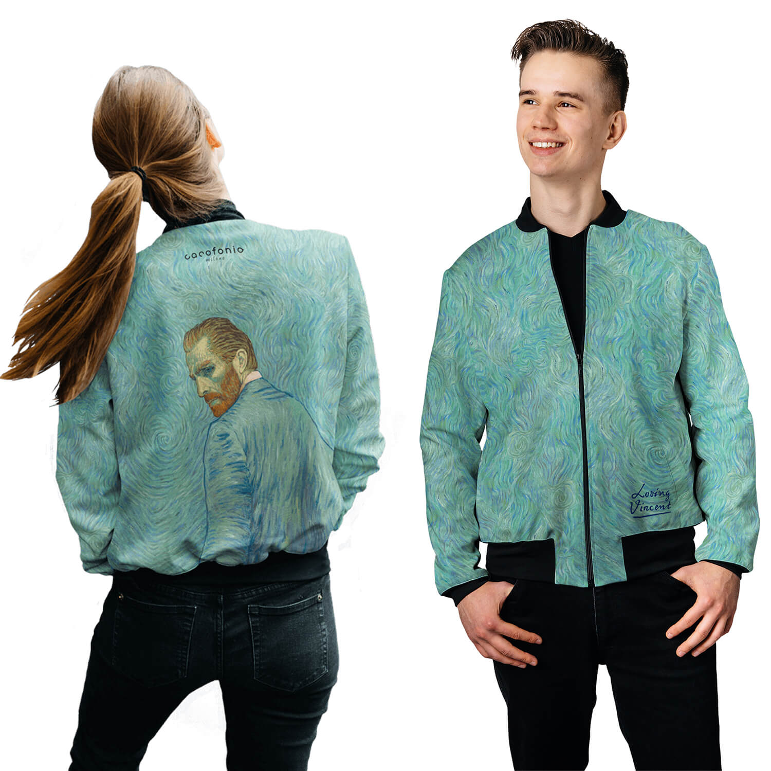 Loving Vincent womens men bomber jacket kurtka Van gogh Twój Vincent Full print art clothes Cacofonia Milano 2