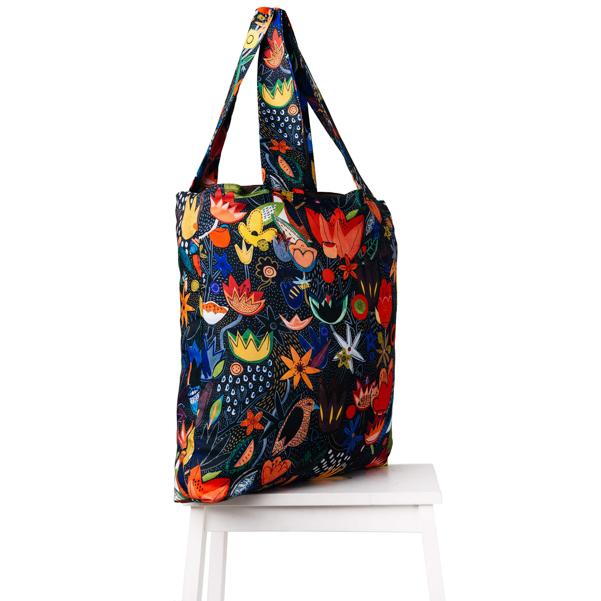 Torba Colorful Jungle Bag Cacofonia handmade paintings flowers birds gift