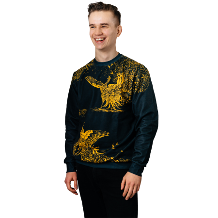 Black Peacocks Gold Birds jumper Gonciarz Full print art clothes Cacofonia Milano-2