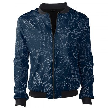 Egon Schiele Hands bomber jacket granatowwe ubrania blue white Cacofonia Milano clothes inspired by art5
