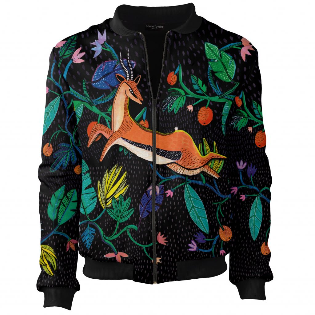 0b362f86e5a6e Gazelle bomber jacket clothes inspired by art Jungle Aga Głód ubrania  ręcznie robione handmade Cacofonia Milano2