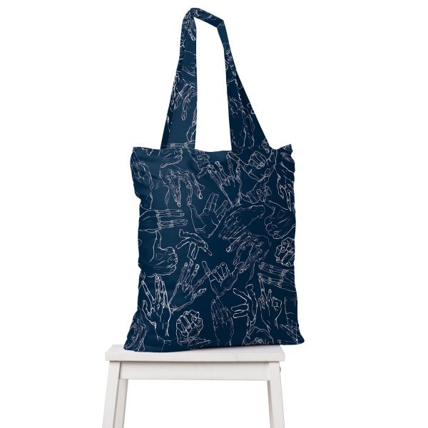 Egon Hands navy blue bag torba granat Schiele sztuka art ręce grafitti drawing2