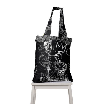 King Basquiat Torba Cacofonia Milano bag black white art grafitti drawing 3