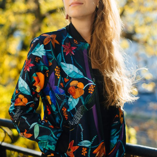 Cacofonia Milano Garden of Eden floral bomber jacket autumn flowers jungle (3)
