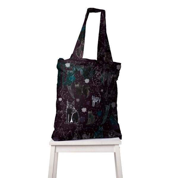 Black-Cosmic-Cats_torba_big bag shopper z wzorem Cacofonia Milano