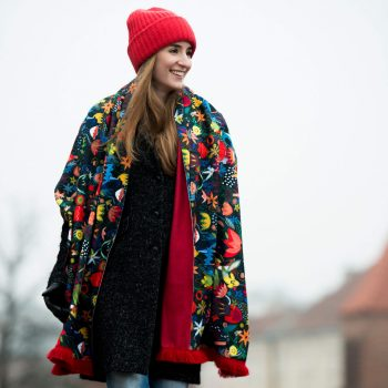 Colorful Jungle Cacofonia Milano red carf warm shawl red with flowers gift for women art