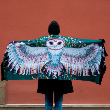 Green Owl Shawl with Owl Cacofonia Milano handmade big warm scarf