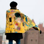 Kiss Klimt winter shawl Cacofonia Milano art scarf
