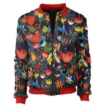 Colorful-Jungle_RED_bomber_Cacofonia Milano_kurtka w kwiaty