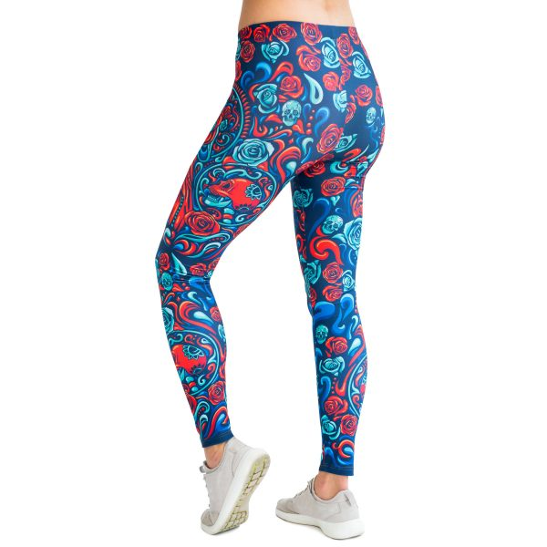 Leggins Santa Muerte Red Cacofonia Milano colorful leggins with mexicam print
