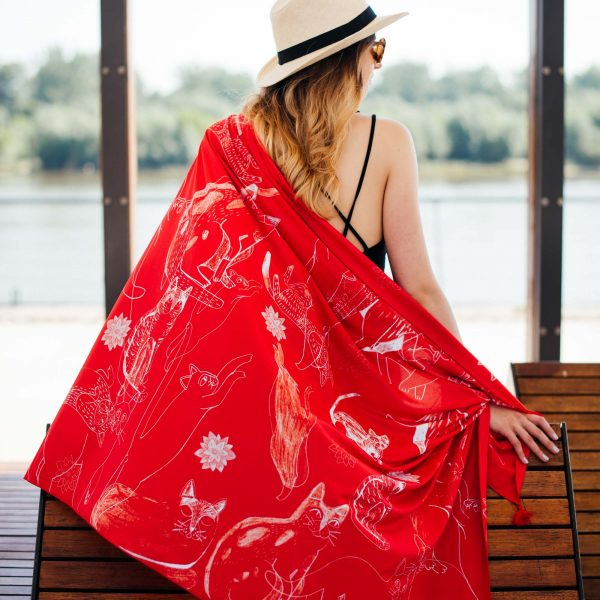 Red Cats - Cacofonia Milano - pareo  with cats - red sarong