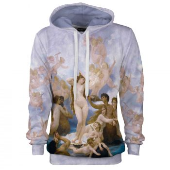 Lilac hoodie. Purple sweatshirt, William-Adolphe Bouguereau Birth of Venus, Cacofonia Milano sewn in Poland. clothes with art (1)