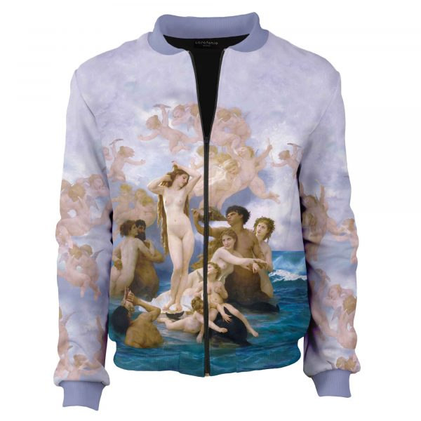 Purple jacket. Lilac bomber, William-Adolphe Bouguereau Birth of Venus, sewn in Poland Cacofonia Milano. clothes with art (5)