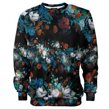 Floral sweatshirt, Still Life pattern by Cacofonia Milano. Warm fullprint jumper. Jan von Huysum's art on clothes
