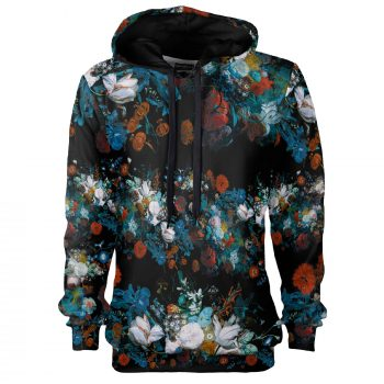 Floral hoodie, Still Life pattern by Cacofonia Milano. Warm fullprint hoodie. Jan von Huysum's art on clothes