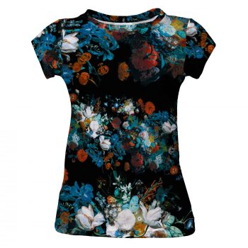 Still Life women's t-shirt with flowers Cacofonia Milano. Women's t-shirt with colorful flowers. Art by Jan von Huysum