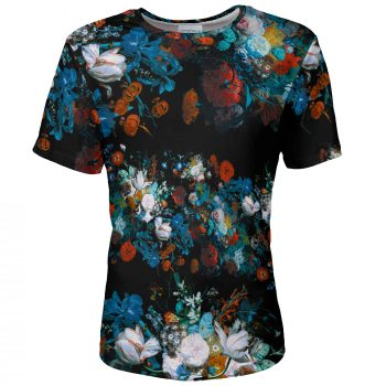 Still Life men's t-shirt with flowers Cacofonia Milano. T-shirt with colorful flowers. Jan von Huysum