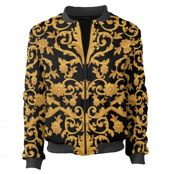 Black and gold bomber Cacofonia Milano. Elegant jacket sewn in European Union
