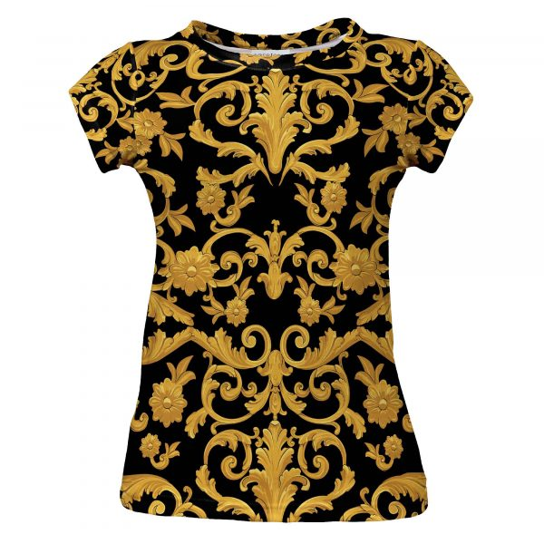 Black and gold Gate shirt. Clothes with art sewn in Poland