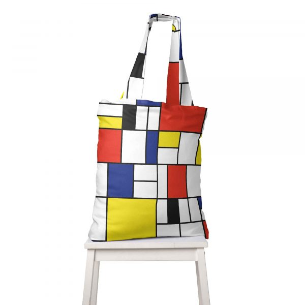 A large colorful bag with art. Model Mondrian by Cacofonia Milano