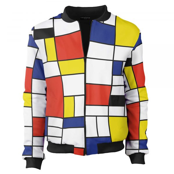 Colorful bomber jacket Piet Mondrian Cacofonia Milano clothes with art (5)