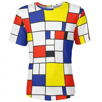 Colorful men's T-shirt Piet Mondrian Cacofonia Milano clothes with art (10)