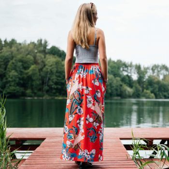 Red long skirt with flowers