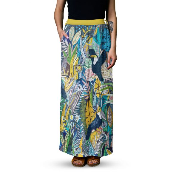 Patterned skirt-Lime maxi skirt-Cacofonia Milano patterned skirt (2)