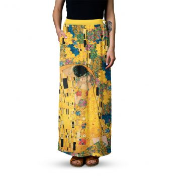 Kiss Klimt maxi skirt - Clothes with art-Yellow skirt with Klimt pattern-Cacofonia Milano (2)