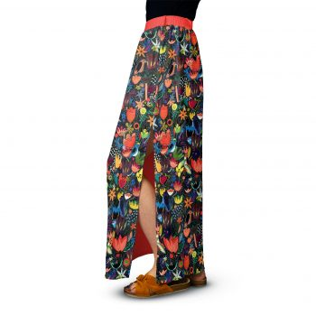 Colorful floral maxi skirt-Hand-drawn-Red Colorful Jungle Cacofonia Milano maxi skirt