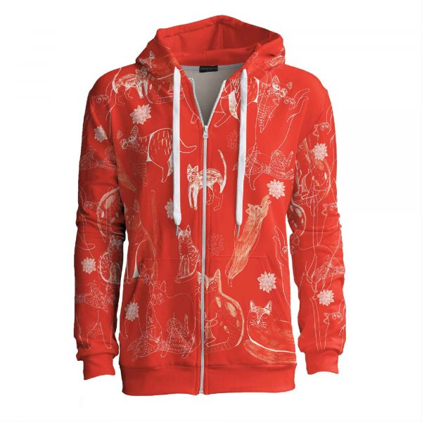 Red-Cats-red-zip-up-hoodie-Cacofonia-Milano