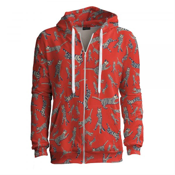 red zip up hoodie with cats