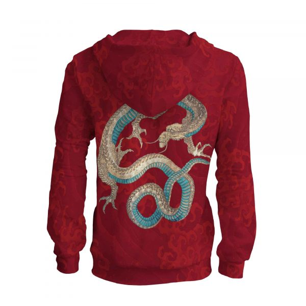 zip up hoodie with dragon